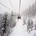 snowy chairlift