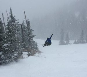 Snowboarder enjoying powder